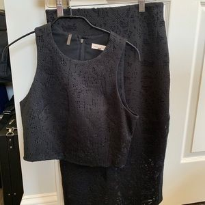 Rebecca Taylor black cropped top and skirt